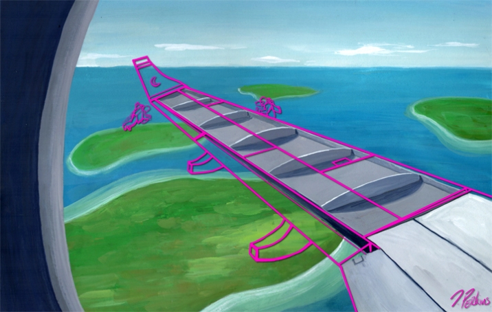 """This was made for a private client who gave me the task of illustrating the phrase """"Building the plane while flying it""""."""