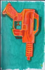 Paint marker sketch of a water gun