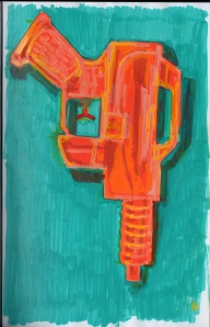 Paint marker sketch of a water gun