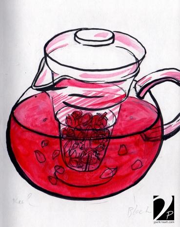 Tea inside glass pot